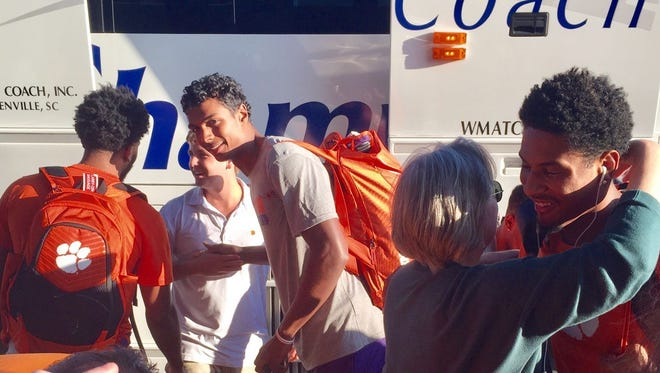 Clemson players receive warm greeting after returning from trip to Spain last summer.