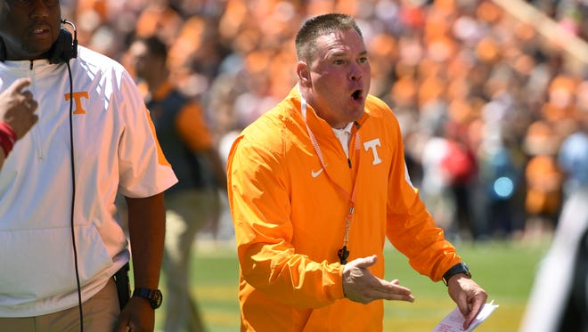 Coach Butch Jones during action at the UT Orange and White Spring Game on April 16, 2016.