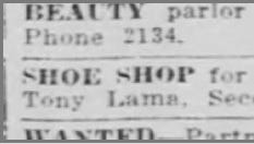 Aug. 1916, Shoe Shop for sale, Tony Lama.