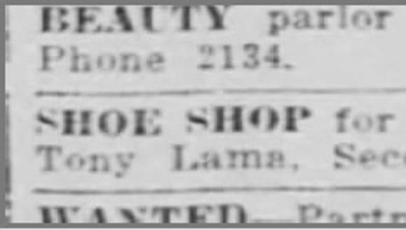 Aug. 1916, Shoe Shop for sale, Tony Lama.