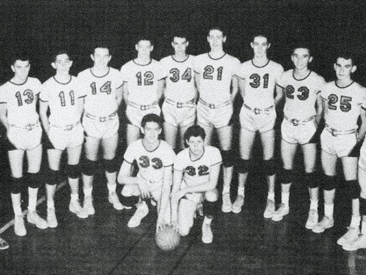 The 1952 Hanover boys' basketball team picture shows, from left, front row: Bob Reese and Gene Lookenbill; and back row:  Karl Meyers, Bob Frock, Norm Shue, Dave Glick, Clarence Bossom, Bob Esaley, Harry Holm, Harold Stremmel, Jim Keeney, Laverne Weaver, Nevin Musselman and Frank Noonan.