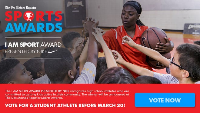 "The I AM SPORT AWARD PRESENTED BY NIKE recognizes high school athletes who are committed to getting kids active in their community. The winner will be announced at The Des Moines Register Sports Awards on June 24 at Wells Fargo Arena. Voting for your favorite nominations is underway and the nominees with the most votes will be invited to attend The Des Moines Register Sports Awards to find out if they won, connect with other nominees from across Iowa and celebrate the state's first ""I Am Sport Award."" The winner will get to meet The Des Moines Register Sports Awards guest speaker, Shaquille O'Neal."