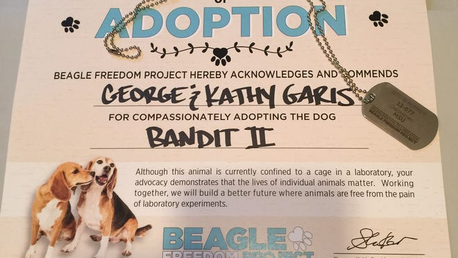 The adoption is only on paper, but George and Kathy Garis hope to bring Bandit II home from a Michigan State University research lab one day.