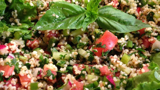 Tabouleh uses bulghur/bulgur cracked wheat (lowers cholesterol and a good source of fiber). It has to be reconstituted in water.