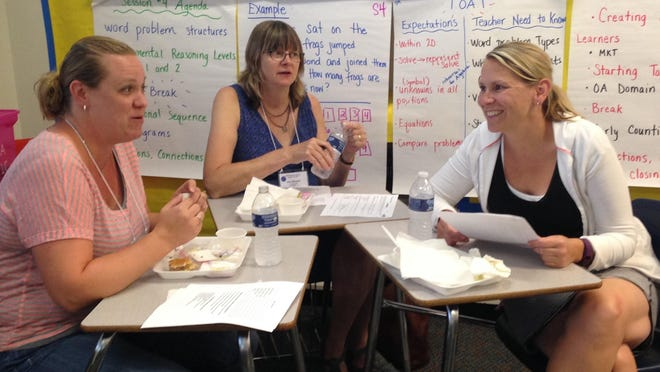 Pictured, from left, Amie Veldman, Ann Meseck and Casey Scheuren work together at the WSMI Math Institute.