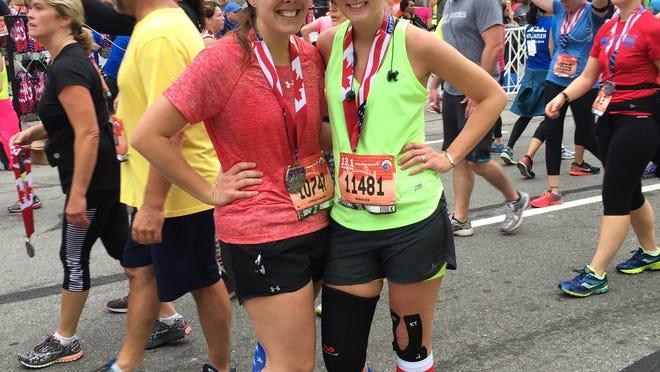 Sara Wotlinski of Shelby Township and Amanda Box of Waterford ran the international half marathon together.