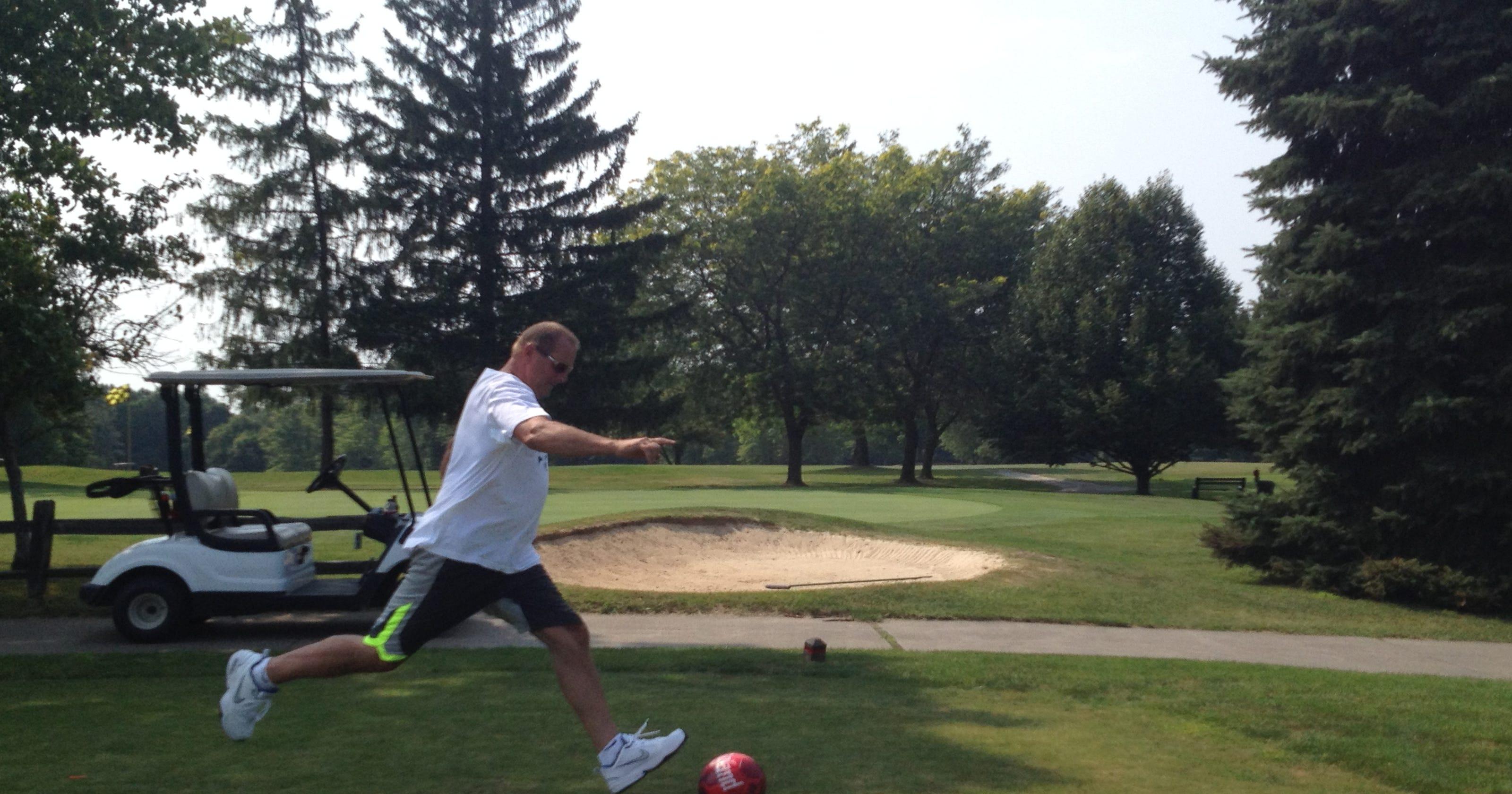 FootGolf uses soccer ball, kicks