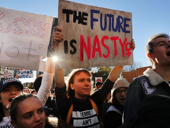 Hundreds of anti-Donald Trump protesters hold a demonstration