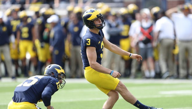Michigan's Quinn Nordin makes one of his five field goals during the third quarter against Air Force, Saturday, Sept. 16, 2017 at Michigan Stadium.