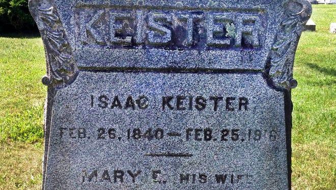 Isaac Keister's gravestone at Augusta Stone Cemetery.