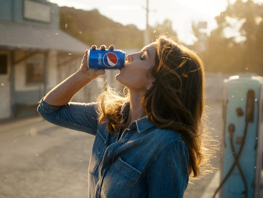 Cindy Crawford in a scene from her 2018 Pepsi commercial.