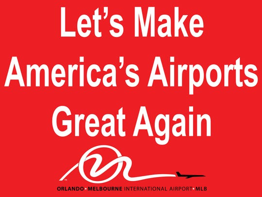 Signs like these were quite popular at the recent visit by President Donald Trump at the Orlando-Melbourne International Airport.