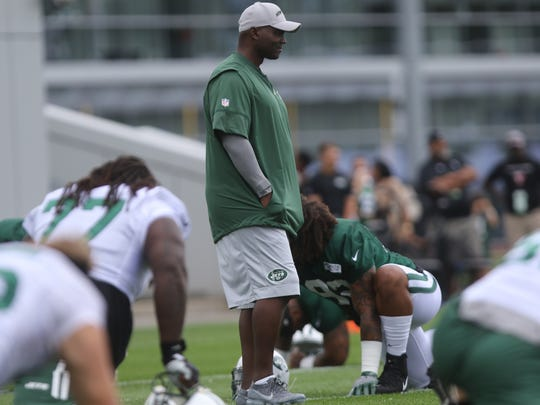 Jets head coach Todd Bowles is shown at the first practice of the season at Florham Park on Saturday,