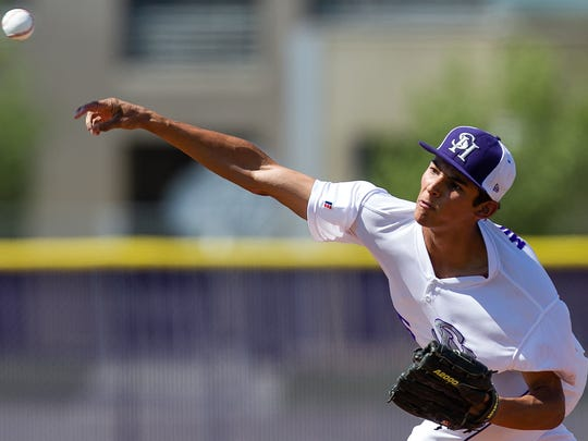 Tyson Miller of Shadow Hills pitches against Apple Valley during a CIF playoff baseball game in this 2012 photo.