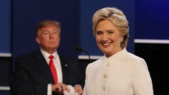 Democratic candidate Hillary Clinton, right, and Republican