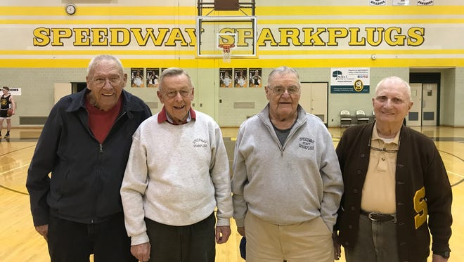 The Speedway 1948 sectional title team will be honored on Friday. Members of that team, from left: Al Wiechers, Jack Mayhugh, Jim Crumley and Phil Brumley. Check out the scoreboard, which displays the year and score of that sectional championship victory.