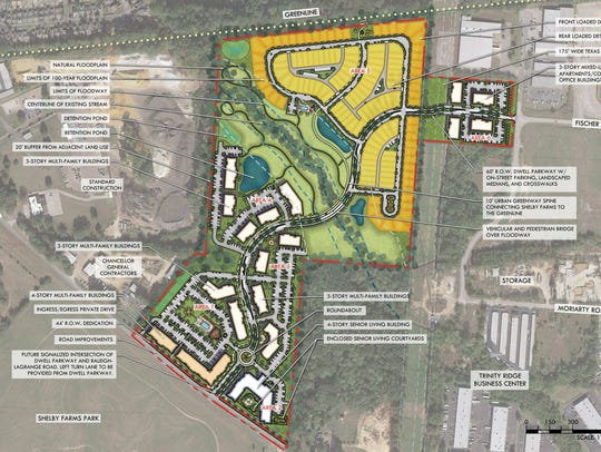 Site plan for Dwell at Shelby Farms