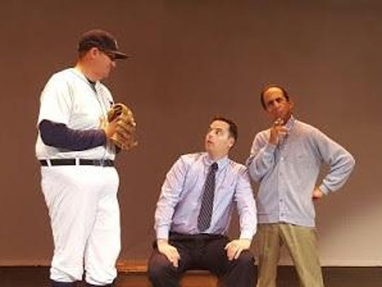 "Rob Wise, from left, with Kyle Bushre and Gary Weinstein in ""The Vast Difference"" by Jeff Daniels. The season opener at the Farmington Players barn runs Sept. 23 through Oct. 15."