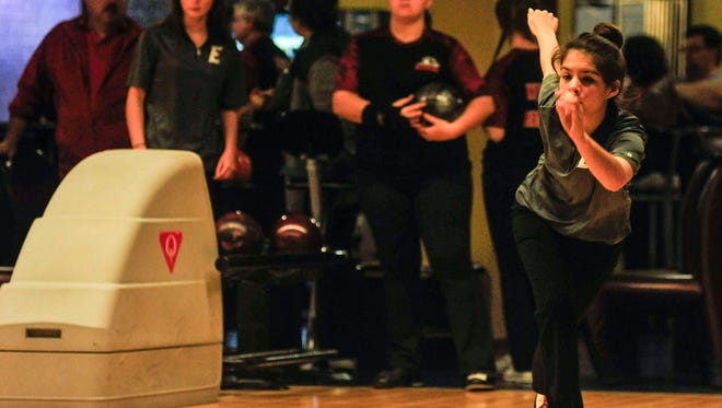 Elgin's Shelby Burns releases her bowling ball during a late-season match against Harding at bluefusion entertainment. The Comets qualified for the girls Division II state bowling tournament Friday at Wayne Webb's Columbus Bowl.