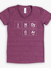 """""""Elements of Speed"""" women's cranberry T-shirt (also available in Black and Evergreen), $26."""