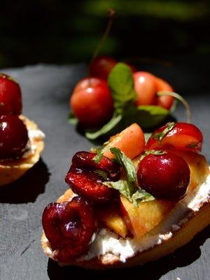 Sweet cherry nectarine bruschetta with goat cheese.