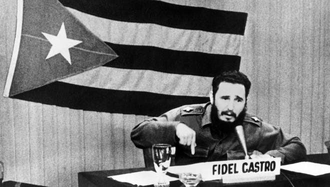 Cuban President Fidel Castro gives a speech during the Cuban Missile Crisis in 1962. Castro has since handed power to his brother Raul.