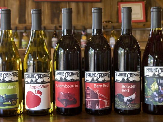 Some of the wines produced by Terhune Orchards in Lawrenceville.