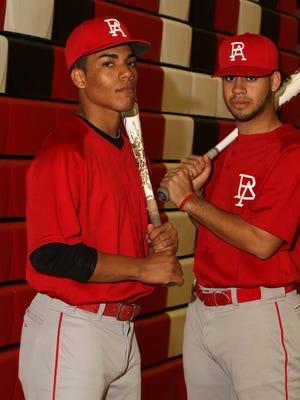 Perth Amboy high school baseball players Darius Diaz left and Chris Brito April 4, 2016