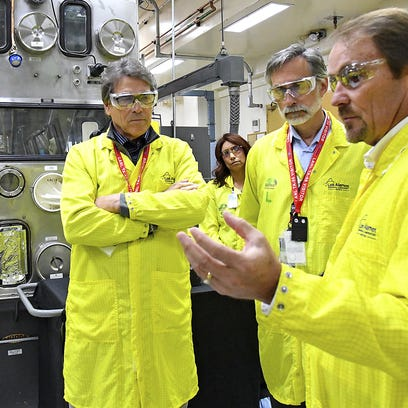 In this 2017 photo, U.S. Secretary of Energy Rick Perry,
