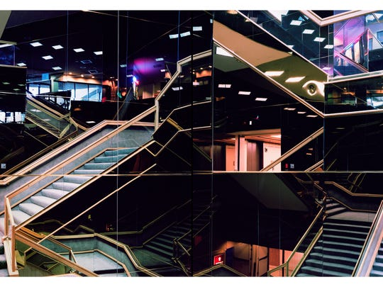 """Mirrored Stairwell Diptych,"" by Joe Johnson, on display at the Rueff Galleries in Purdue's Pao Hall."