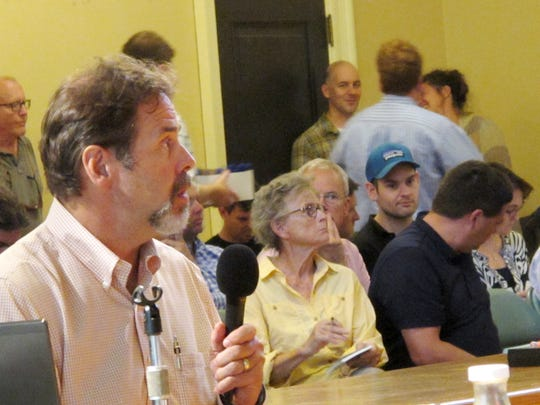 David E. White, director of Planning and Zoning in Burlington, on Monday discusses proposed changes to downtown zoning in advance of a City Council work session at Contois Auditorium. About 50 members of the public attended the meeting. Photographed on Monday, Aug. 15, 2016.