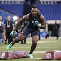 Eastern Kentucky defensive lineman Noah Spence participates in a drill during the 2016 NFL scouting combine at Lucas Oil Stadium.