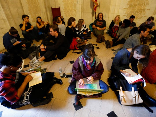Students gather for a sit-in on Nov. 19, 2015, in Princeton, N.J.