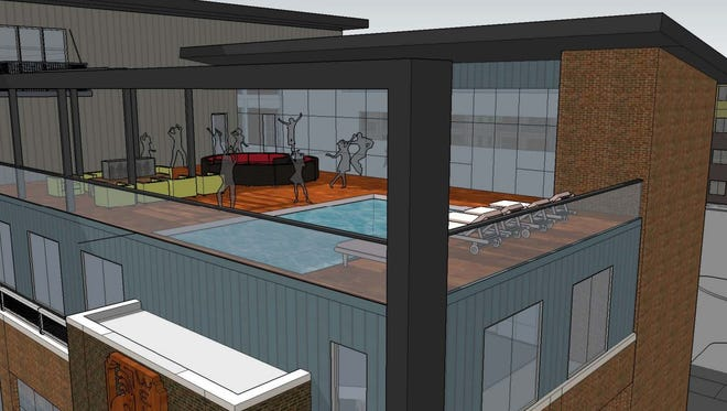 A rooftop pool is included in the plans for an apartment and retail development at Ingersoll Avenue and 23rd Street in Des Moines.