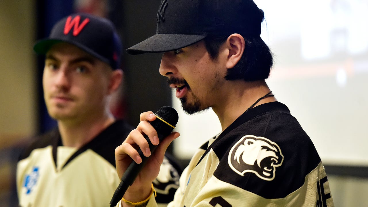 Hershey Bears teammates Mason Mitchelll and Jonas Siegenthaler visited students at Fayetteville Elementary School after students met reading goals.