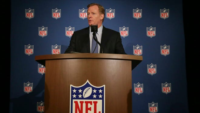 NFL Commissioner Roger Goodell speaks after Wednesday's owners meeting in Texas.