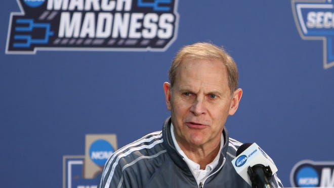 Michigan basketball coach John Beilein speaks at a news conference March 17, 2016.