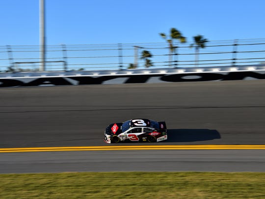 Austin Dillon practices at Daytona International Speedway
