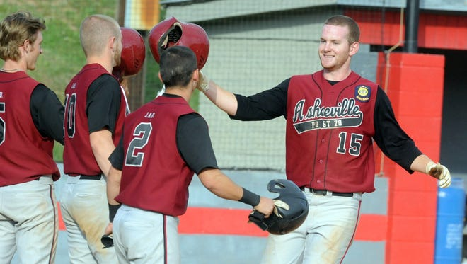 Alex Destino hit his team-high eighth home run of the season for Asheville Post 70 on Saturday night in Shelby.