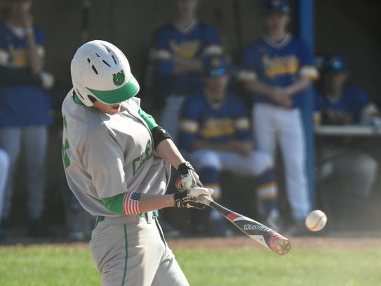 Clear Fork's Mason Cox drills a line drive base hit