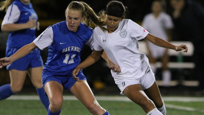 Jazlyn Oviedo (right) scored as DePaul topped West Milford, 2-0, in the Passaic County tournament quarterfinals.