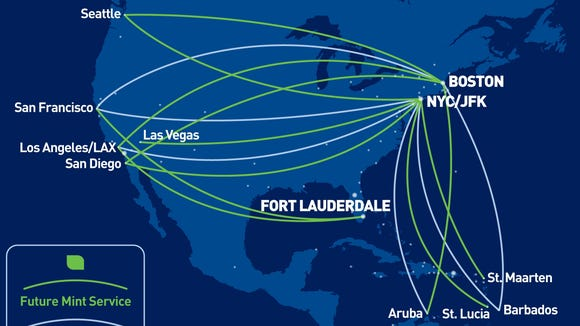 Jetblue Route Map JetBlue: Flat bed seats coming to more cross country routes Jetblue Route Map