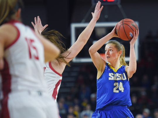 SDSU's Tagyn Larson looks for an open teammate during