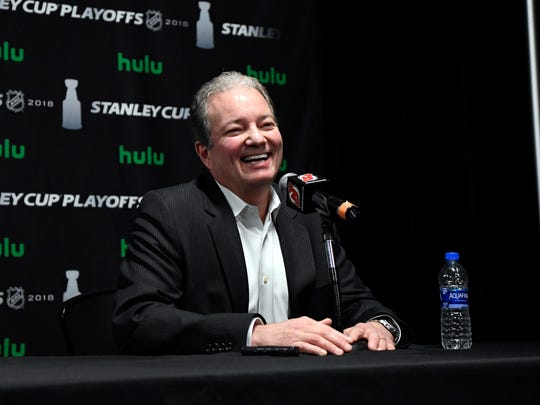 New Jersey Devils general manager Ray Shero laughs