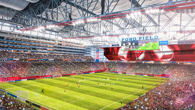 New artist renderings of how Ford Field would look if Detroit gets a Major League Soccer expansion team.
