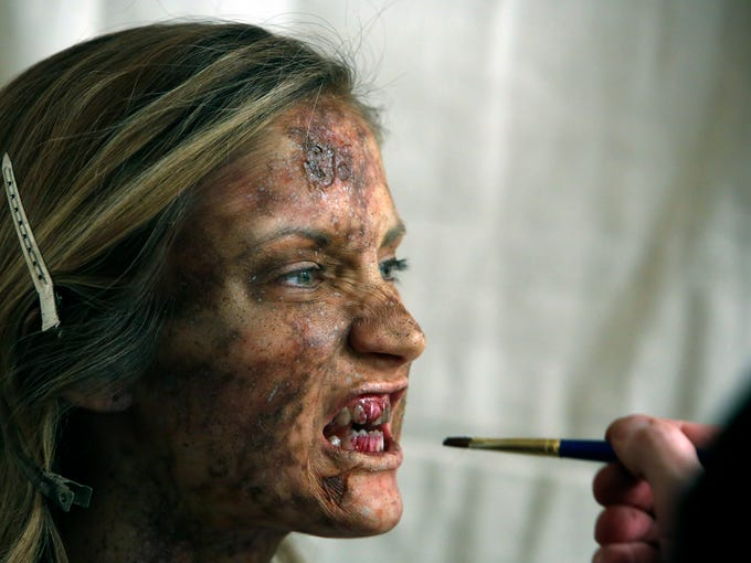 zombie transformation by make up artist for the walking dead