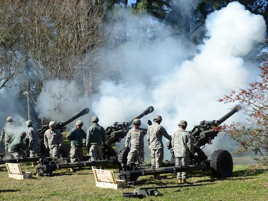 Louisiana National Guard 141st Field Artillery Regiment fires a 19-gun salute at the inauguration of La. Gov. John Bel Edwards on Jan 11, 2016, at the La. State Capitol, Baton Rouge, La.