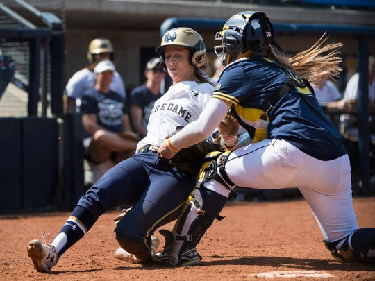 Michigan defeated Notre Dame, 6-2, on Sunday, May 22, 2016 to reach the Super Regionals.