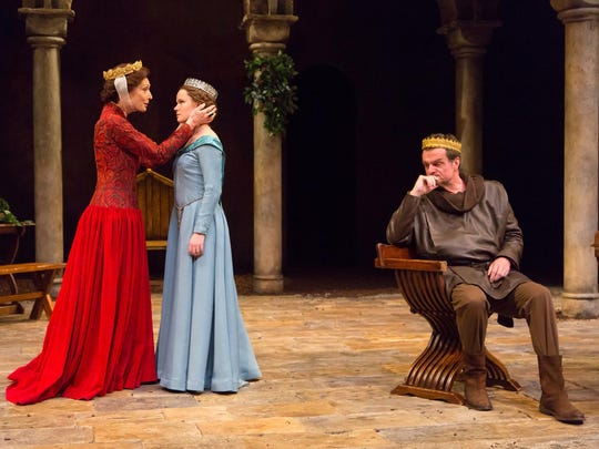 "Dee Hoty (left), Madeleine Rogers and Michael Cumpsty in ""The Lion in Winter."""