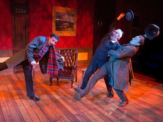"Walnut Street Theatre production of ""Baskerville"" stars, from left,  Jered McLenigan, Bill Van Horn and Ian Merrill Peakes."